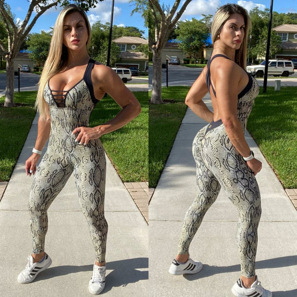 IRIS FITNESS JUMPSUIT BUTT SCRUNCH  SNAKE SKIN JUMPSUIT also called Booty Scrunch Leggings