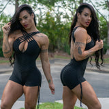 CROSSED FRONT BLACK TEXTURE WAVE SHORT JUMPSUIT - Iris Fitness home of good quality leggings with really good prices