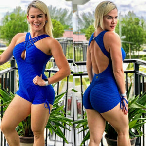 CROSSED FRONT BLUE TEXTURE WAVE  SHORT JUMPSUIT - Iris Fitness home of good quality leggings with really good prices