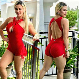 CROSSED FRONT RED TEXTURE WAVE SHORT JUMPSUIT - Iris Fitness home of good quality leggings with really good prices
