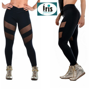 2 STRIPES MESH BLACK LEGGINGS - Iris Fitness home of good quality leggings with really good prices