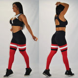 BUTT SCRUNCH  BREATHABLE RED & BLACK LEGGINGS - Iris Fitness home of good quality leggings with really good prices