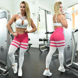 BUTT SCRUNCH  BREATHABLE WHITE & PINK LEGGINGS - Iris Fitness home of good quality leggings with really good prices