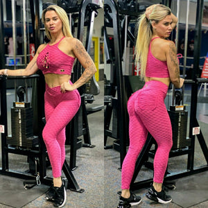 IRIS FITNESS LEGGINGS BUTT SCRUNCH FUCHSIA TEXTURE WAVE POCKET LEGGINGS also called Booty Scrunch Leggings