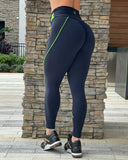 IRIS FITNESS LEGGINGS BUTT SCRUNCH GREEN NEON BELTED LEGGINGS