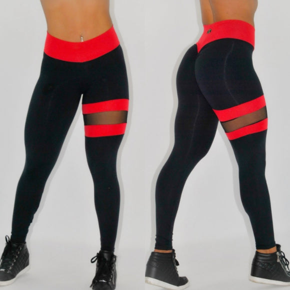 BUTT SCRUNCH LEG BAND RED AND BLACK LEGGINGS - Iris Fitness home of good quality leggings with really good prices