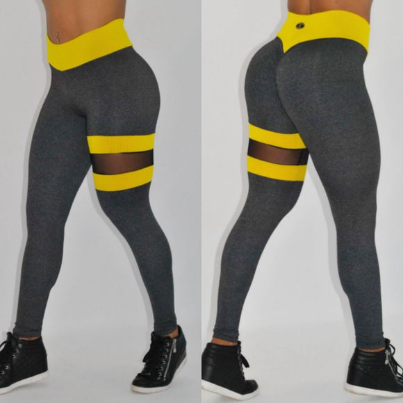 BUTT SCRUNCH LEG BAND YELLOW AND GRAY LEGGINGS - Iris Fitness home of good quality leggings with really good prices