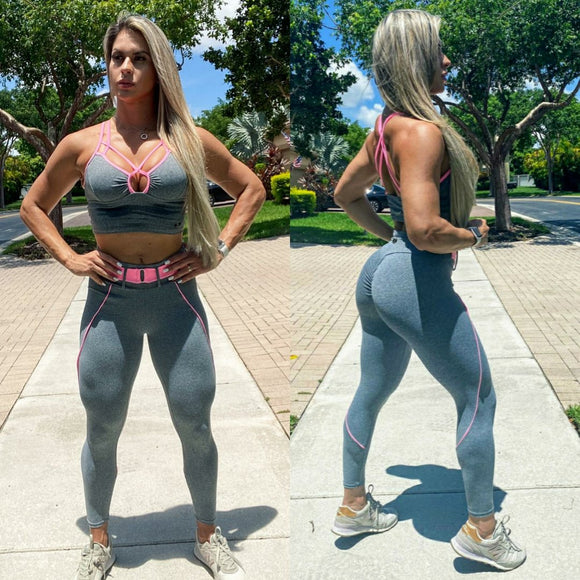 IRIS FITNESS LEGGINGS BUTT SCRUNCH LIGHT GRAY PINK BELTLEGGINGS also called Booty Scrunch Leggings