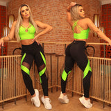 IRIS FITNESS LEGGINGS BUTT SCRUNCH NEON GREEN ACCENT BLACK LEGGINGS also called Booty Scrunch Leggings
