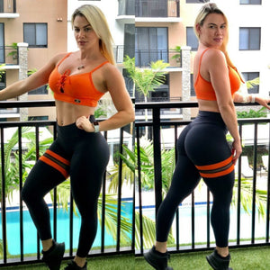 BUTT SCRUNCH ORANGE LEG BAND LEGGINGS - Iris Fitness home of good quality leggings with really good prices