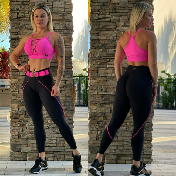 BUTT SCRUNCH PINK NEON BELTED LEGGINGS - Iris Fitness home of good quality leggings with really good prices