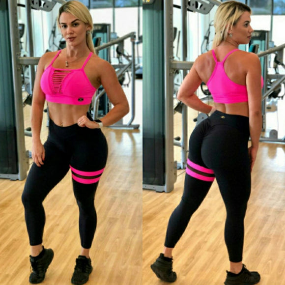 BUTT SCRUNCH PINK NEON LEG BAND LEGGINGS - Iris Fitness home of good quality leggings with really good prices