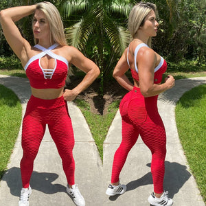 IRIS FITNESS LEGGINGS BUTT SCRUNCH RED TEXTURE WAVE POCKET LEGGINGS also called Booty Scrunch Leggings