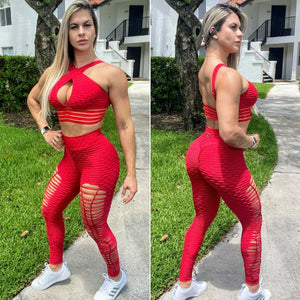IRIS FITNESS LEGGINGS BUTT SCRUNCH RED TEXTURE WAVE RIPPED LEGGINGS also called Booty Scrunch Leggings