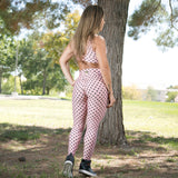BUTT SCRUNCH SALMON POLK DOTS LACE LEGGINGS - Iris Fitness home of good quality leggings with really good prices