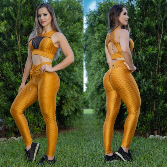 IRIS FITNESS LEGGINGS BUTT SCRUNCH SHINY GOLD TEXTURE WAVE LACE LEGGINGS