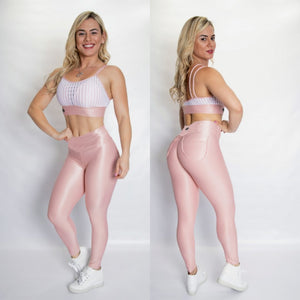 BUTT SCRUNCH SHINY PEACH POCKET LEGGINGS - Iris Fitness home of good quality leggings with really good prices