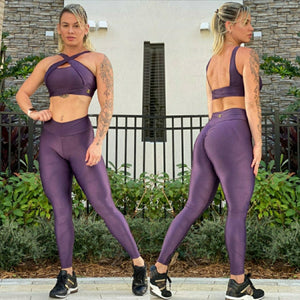 BUTT SCRUNCH SHINY PURPLE LEGGINGS - Iris Fitness home of good quality leggings with really good prices