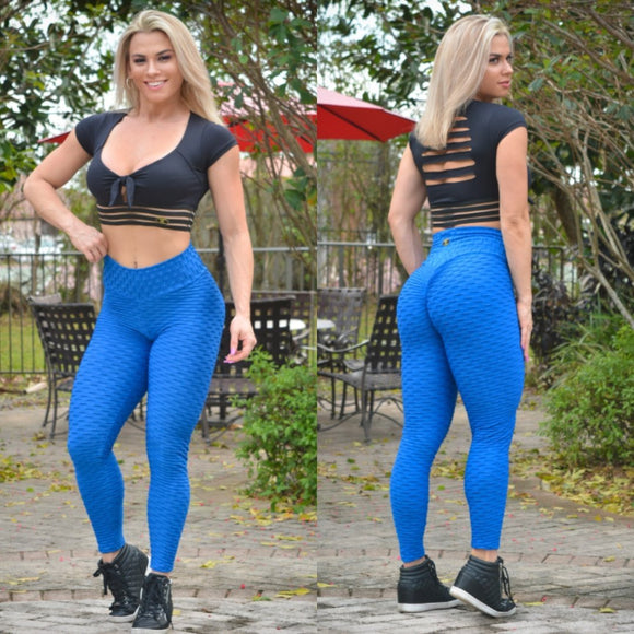 BUTT SCRUNCH TEXTURE WAVE BLUE LEGGINGS - Iris Fitness home of good quality leggings with really good prices