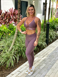 BUTT SCRUNCH TEXTURE WAVE MAUVE POCKET LEGGINGS - Iris Fitness home of good quality leggings with really good prices