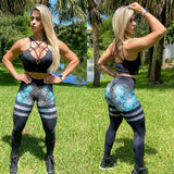 IRIS FITNESS LEGGINGS BUTT SCRUNCH TH-IRIS BLUE FLORAL & BLACK LEGGINGS also called Booty Scrunch Leggings