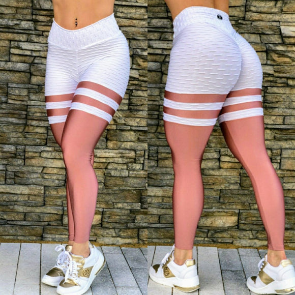 IRIS FITNESS LEGGINGS BUTT SCRUNCH WHITE TEXTURE SHINY ROSE TH-IRIS LEGGINGS