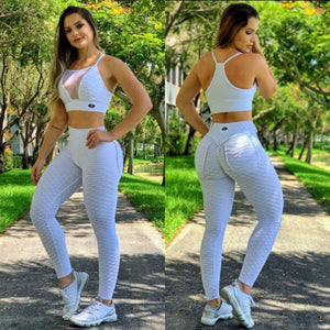 BUTT SCRUNCH WHITE TEXTURE WAVE POCKET LEGGINGS - Iris Fitness home of good quality leggings with really good prices