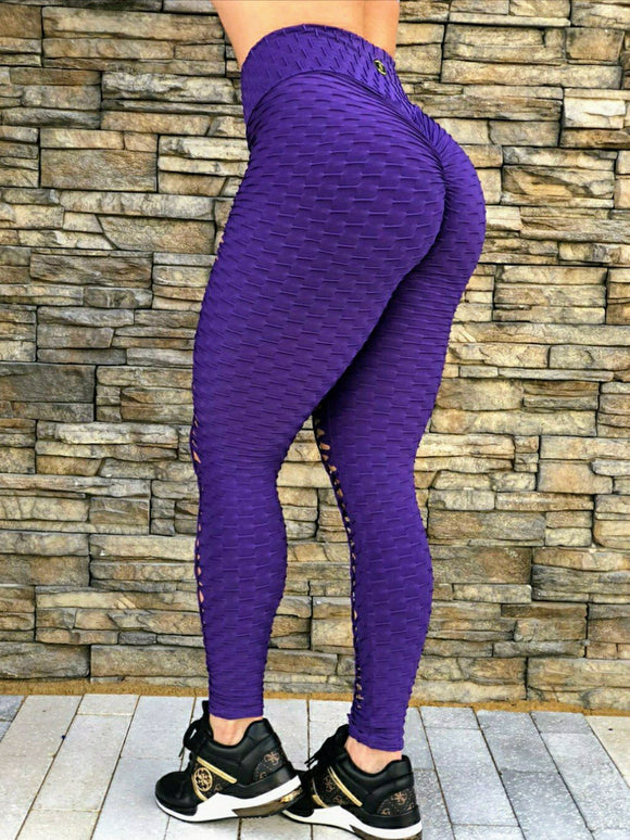 SCRUNCH BOOTY TEXTURE WAVE PURPLE LEGGINGS - Iris Fitness home of good quality leggings with really good prices