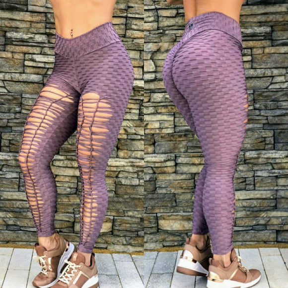 SCRUNCH BOOTY TEXTURE WAVE RIPPED MAUVE LEGGINGS - Iris Fitness home of good quality leggings with really good prices
