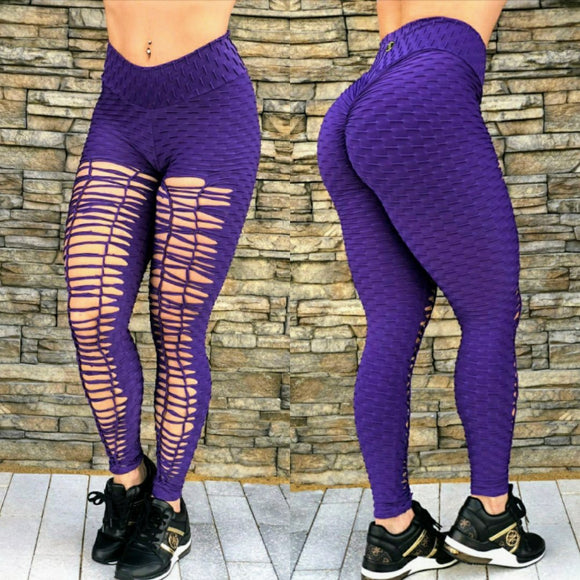 SCRUNCH BOOTY TEXTURE WAVE RIPPED PURPLE LEGGINGS - Iris Fitness home of good quality leggings with really good prices
