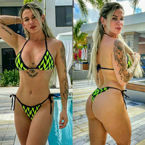 Iris Fitness Online BIKINI NEON AND BLACK SCRUNCH BIKINI SET also called Booty Scrunch Leggings