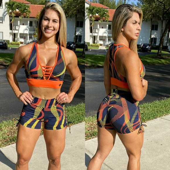 IRIS FITNESS SHORTS BUTT SCRUNCH  CORAL ELECTRIC SHORTS also called Booty Scrunch Leggings