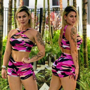 BUTT SCRUNCH PINK CAMOUFLAGE SHORTS - Iris Fitness home of good quality leggings with really good prices
