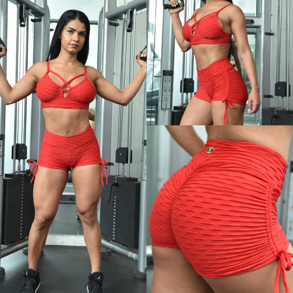 BUTT SCRUNCH RED TEXTURE WAVE SHORTS - Iris Fitness home of good quality leggings with really good prices