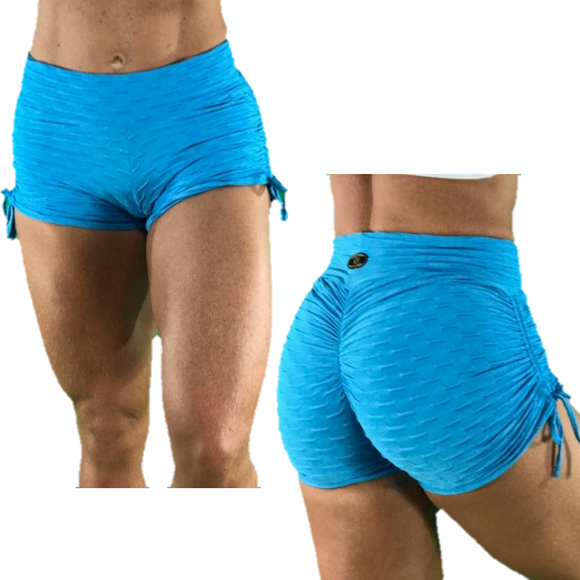 BUTT SCRUNCH SKY BLUE TEXTURE WAVE SHORTS - Iris Fitness home of good quality leggings with really good prices