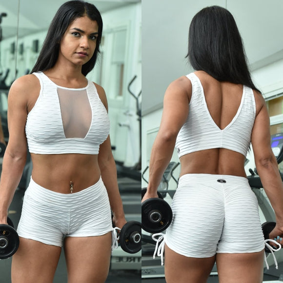 BUTT SCRUNCH WHITE TEXTURE WAVE SHORTS - Iris Fitness home of good quality leggings with really good prices