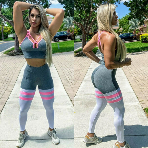 IRIS FITNESS SHORTS LIGHT GRAY & PINK TH-IRIS BREATHABLE LEGGINGS also called Booty Scrunch Leggings