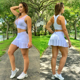 WHITE MESH CIRCLED SKORTS - Iris Fitness home of good quality leggings with really good prices