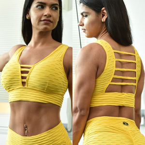 CLASSIC YELLOW TEXTURE WAVE TOP - Iris Fitness home of good quality leggings with really good prices