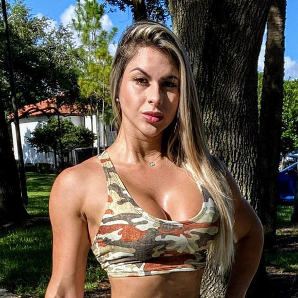 IRIS FITNESS TOP ONE SIZE / BROWN CAMOUFLAGE BROWN CAMOUFLAGE CROP TOP also called Booty Scrunch Leggings