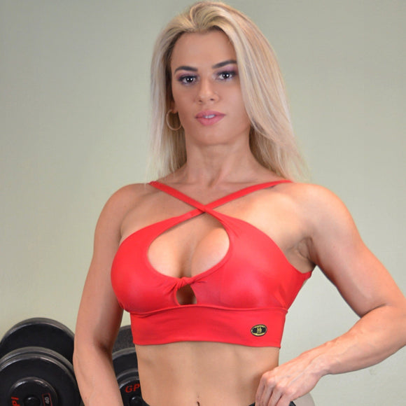 TWISTED FRONT SHINY RED TOP - Iris Fitness home of good quality leggings with really good prices