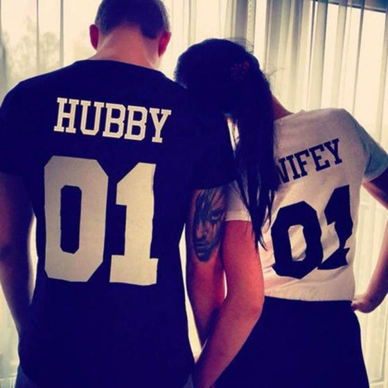 Hubby Wifey Couples T-shirt