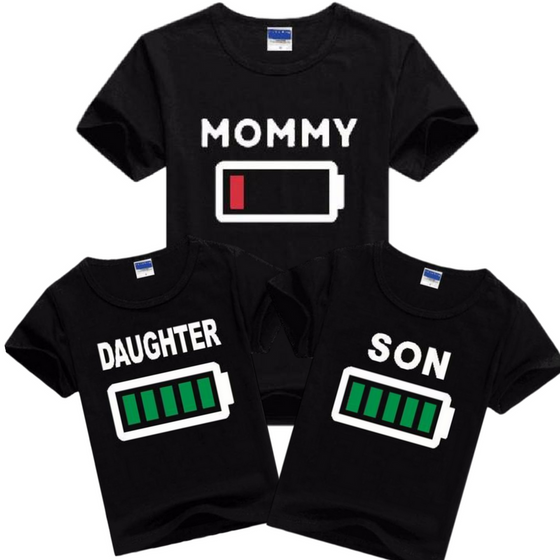 Drained Battery Mommy & Full Battery Kids Shirts - AvantgardExchange.com