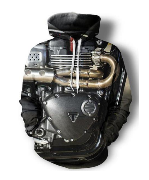 Cool Motorcyle Engine Printed Hoodie - AvantgardExchange.com