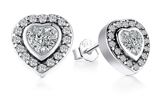 Solid Sterling Silver Double Love Heart Stud Earrings - AvantgardExchange.com