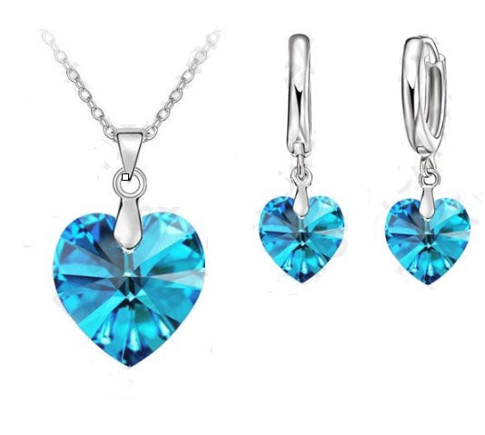 925 Sterling Silver Necklace/Earrings/Pendant Set- Heart CZ
