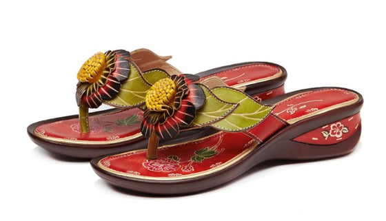 Genuine Leather Flower Wedge Sandals - AvantgardExchange.com