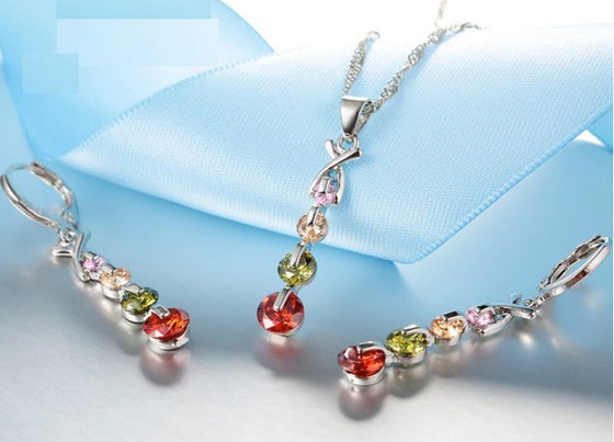 925 Sterling Silver Necklace/Earrings/Pendant Set- CZ Multi