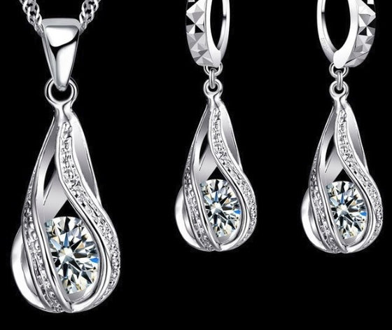 925 Sterling Silver Necklace/Earrings/Pendant Set- Water drops