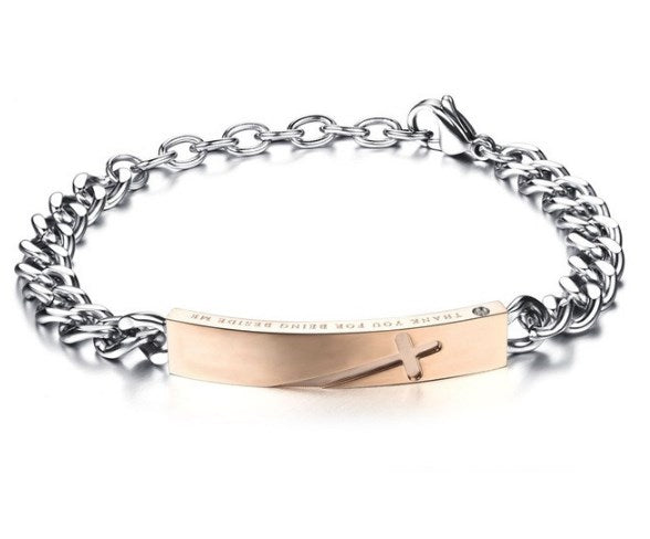 His & Hers Bracelets- Cross 'Thank you for being beside me' - AvantgardExchange.com